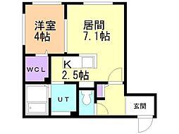 仮)厚別中央5条4丁目MS 2階1LDKの間取り