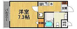 ハッピー新伊丹2 3階1Kの間取り