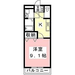 バス 北島下車 徒歩5分の賃貸アパート 1階1Kの間取り