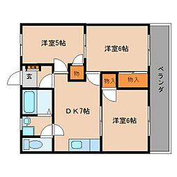 静岡県静岡市葵区瀬名中央3丁目の賃貸マンションの間取り