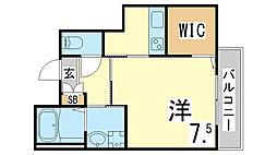 神戸市海岸線 駒ヶ林駅 徒歩5分の賃貸マンション 2階1Kの間取り
