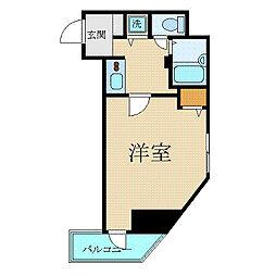 カスタリア新宿 2階1Kの間取り