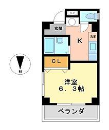 愛知県名古屋市西区香呑町5丁目の賃貸マンションの間取り