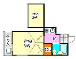 クレール津田沼2[106号室]の間取り
