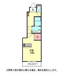 愛知県一宮市開明字会所郭の賃貸アパートの間取り