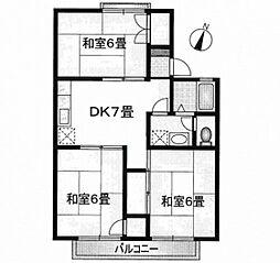 JR山陽本線 広島駅 徒歩31分の賃貸アパート 2階3DKの間取り