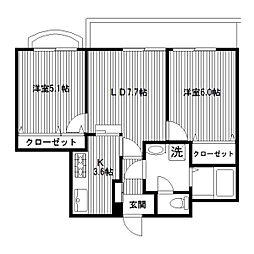 ロイヤルドレイク[2階]の間取り