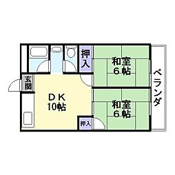 協栄ハイツ1[6階]の間取り