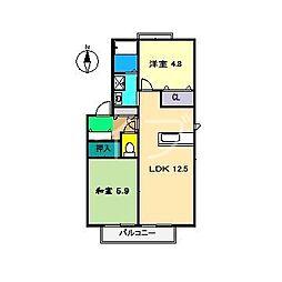 ラ・ベルターナII A棟[2階]の間取り