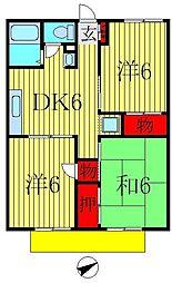 千葉県柏市みどり台5丁目の賃貸アパートの間取り
