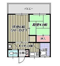 青葉荘[205号室]の間取り