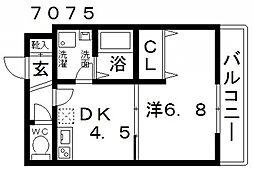 ステラウッド高鷲 3階1DKの間取り