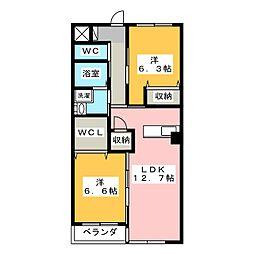静岡県静岡市葵区北安東5丁目の賃貸マンションの間取り