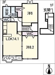 ハーモニースクエアS[2階]の間取り