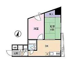 東京メトロ日比谷線 入谷駅 徒歩5分の賃貸マンション 3階2DKの間取り