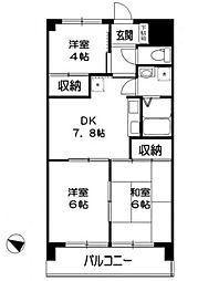 神奈川県相模原市中央区清新5丁目の賃貸マンションの間取り