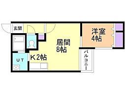 コムズ幌平橋 4階1LDKの間取り