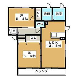 ウィステリア A棟[2階]の間取り