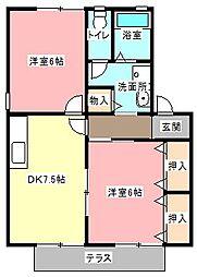 アルカディア B[1階]の間取り