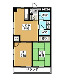 マンションセラヴィ 2階2LDKの間取り
