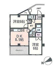 神奈川県横浜市都筑区仲町台3丁目の賃貸マンションの間取り