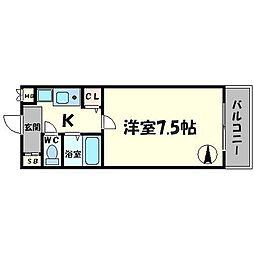 リヴァーシャロウ西三荘 2階1Kの間取り