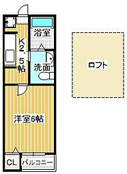 愛知県名古屋市中川区乗越町1丁目の賃貸アパートの間取り