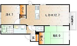 メゾンエムロード E棟[1階]の間取り