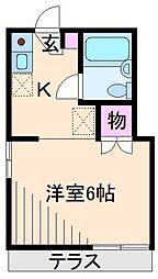 神奈川県横浜市港北区綱島西4の賃貸アパートの間取り