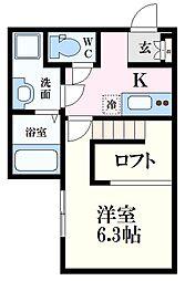 JR芸備線 戸坂駅 徒歩10分の賃貸アパート 1階1Kの間取り