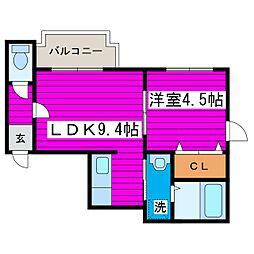 JR学園都市線 石狩当別駅 徒歩2分の賃貸アパート 2階1LDKの間取り
