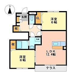 愛知県弥富市平島東3丁目の賃貸アパートの間取り