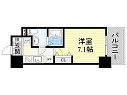 ラクラス新大阪 3階1Kの間取り