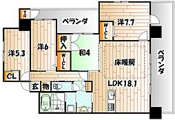 福岡県北九州市八幡西区紅梅2丁目の賃貸マンションの間取り
