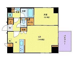 アジールコート銀座イースト 8階1LDKの間取り