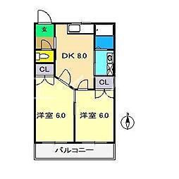コーポ西村II[3階]の間取り