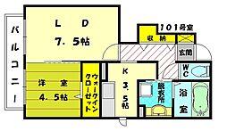 コンフォーティア駅東[1階]の間取り