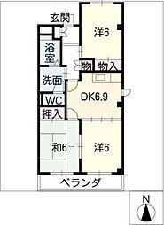 愛知県春日井市下屋敷町字下屋敷の賃貸マンションの間取り