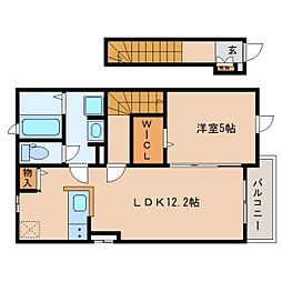 JR東海道本線 清水駅 バス16分 中央共選場前下車 徒歩3分の賃貸アパート 2階1LDKの間取り