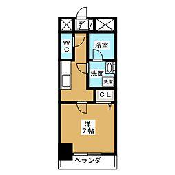 アクアコート大曽根 10階1Kの間取り