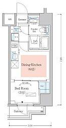 東京メトロ東西線 木場駅 徒歩4分の賃貸マンション 6階1DKの間取り