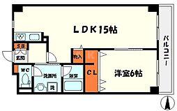コーポノーブル 3階1LDKの間取り