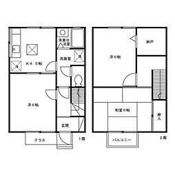 [テラスハウス] 東京都八王子市めじろ台 の賃貸【/】の間取り