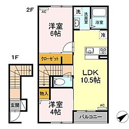 島根県松江市古志原2丁目の賃貸アパートの間取り