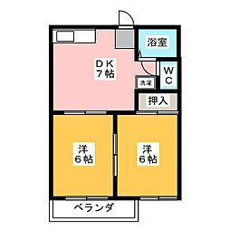 ツインズ新川B[2階]の間取り