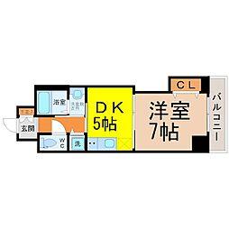 愛知県名古屋市東区泉2の賃貸マンションの間取り