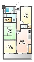 リバーサイド大倉[4階]の間取り