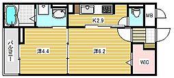 大阪府高槻市芝生町1丁目の賃貸マンションの間取り
