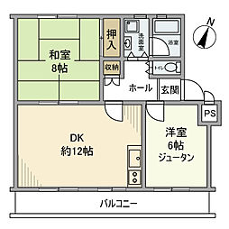 横浜保土ケ谷ハイツ1号棟[5階]の間取り