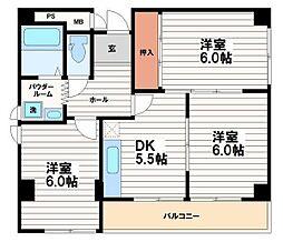 ビーハイツ内久宝寺[6階]の間取り
